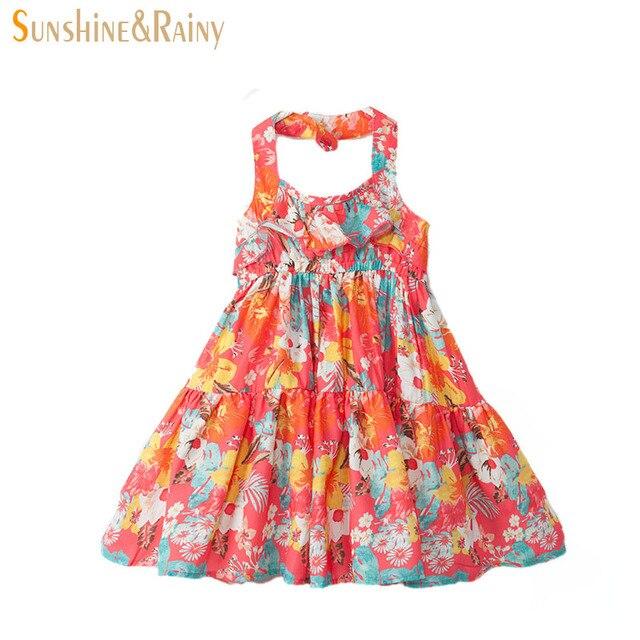 c8d40f18cb12cb Zomer Kids Strand Mouwloze Vintage Meisje Prinses Jurk Grote Meisjes Bloemen  Bandjes Vestidos Leeftijd 4 ~