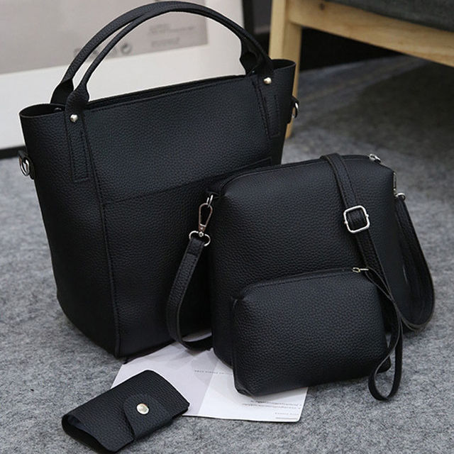 0d4942628c84 2018 New And Fashion 4pcs Women Leather Handbag Lady Shoulder Bags Tote  Purse Messenger Satchel Set