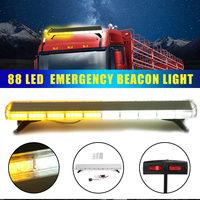 88W Car LED Flash Emergency Warning Light 88LED Strobe Flash Light Amber/White Polices Car Double Sided Warning Lamp Assemblly
