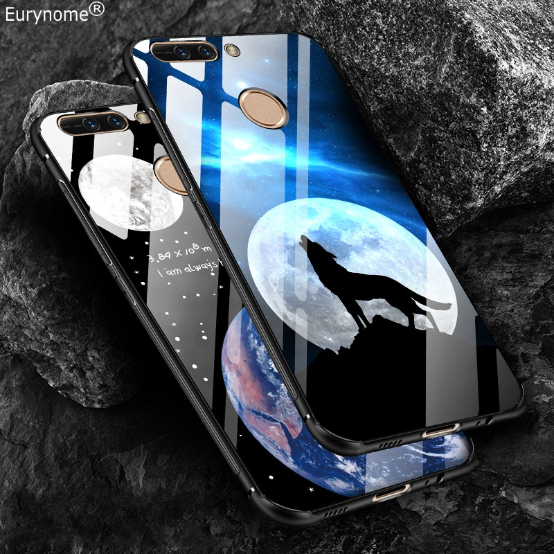Glossy Anti-skid Superman Tower Cute cartoon Plastic tempered glass back Cover Case for Huawei honor V9 honor 8 pro case capa