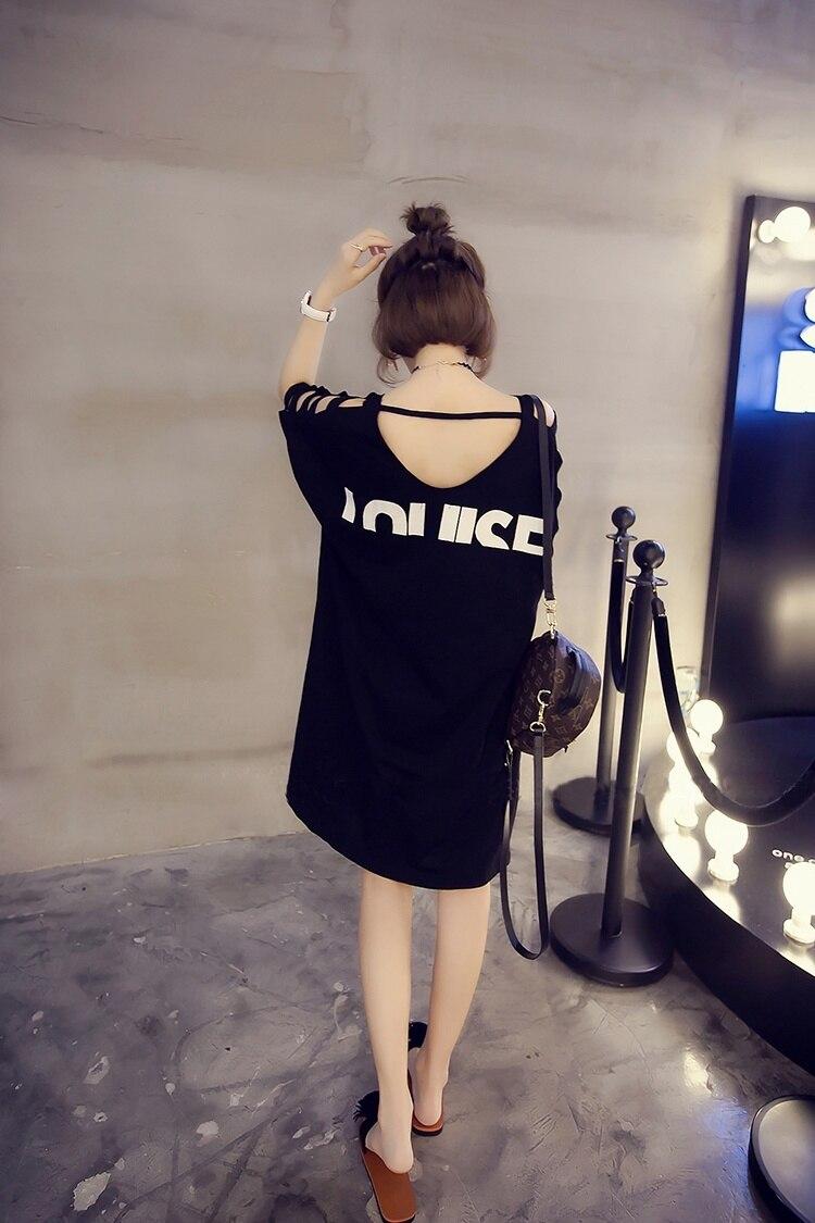 Plus velikost ženske majice s kratkimi luknjami za ženske - Ženska oblačila - Fotografija 3
