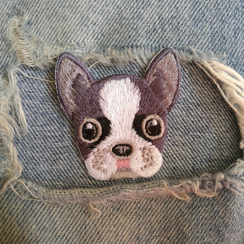 1 PIC 4.2*4.3CM Embroidered Cloth Computer Embroidery Chapter Personality DIY BostonTerrier DOG Decorative Patches For CLOTH