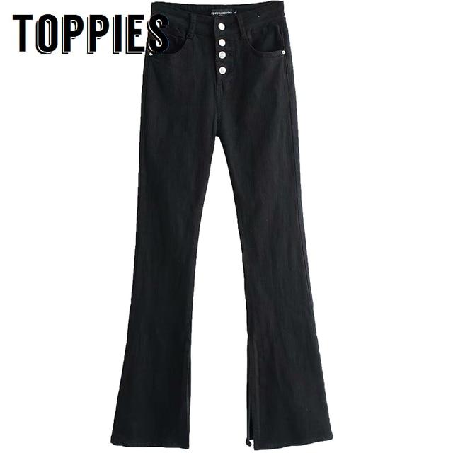 נשים פעמון התלקחות ג 'ינס גבוהה מותן שחור כפתור צופר ג' ינס מוצק צבע Vintage סקיני ג 'ינס מכנסיים באורך מלא Streetwear