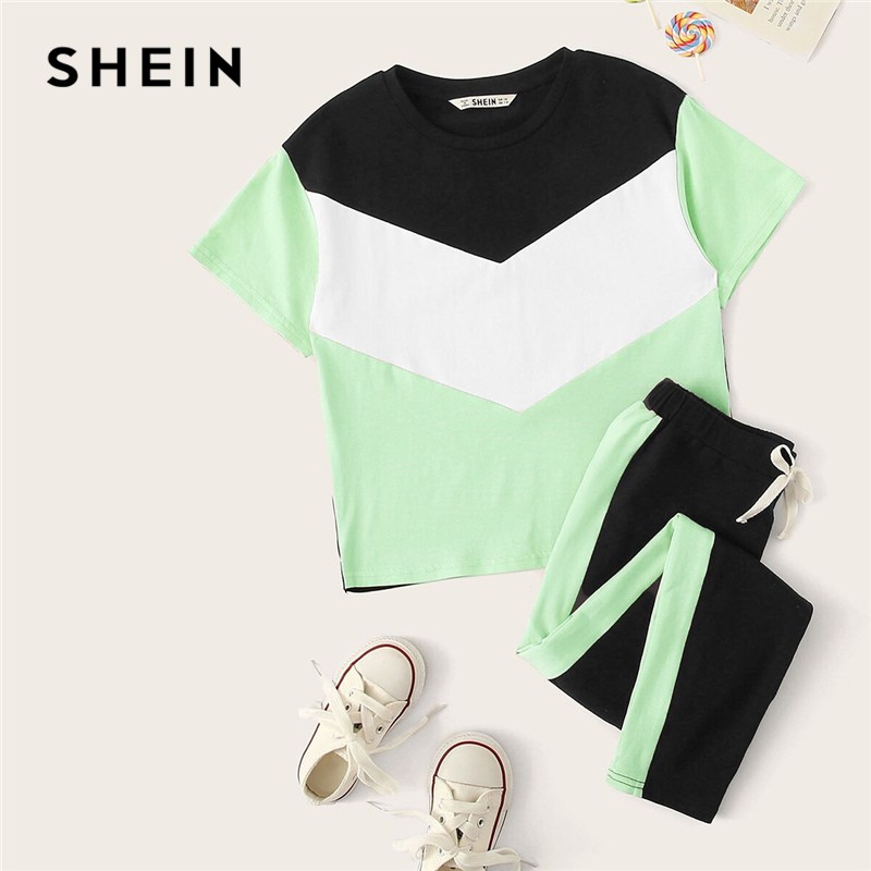 Image 3 - SHEIN Kiddie Girls Colorblock T Shirt And Drawstring Waist Pants Set Children 2019 Summer Active Wear Short Sleeve Suit Sets-in Clothing Sets from Mother & Kids