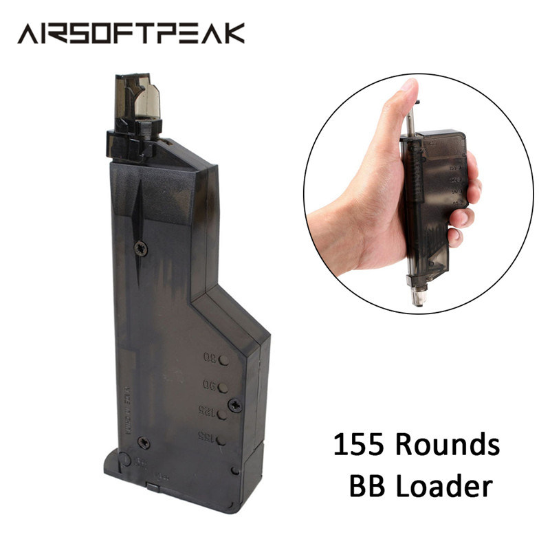 Airsoft Tactical Fast BB Loader Speed Loader Hunting Large Airsoft Quick Speedloader Combat Magazine Plastic 155 Rounds Capacity