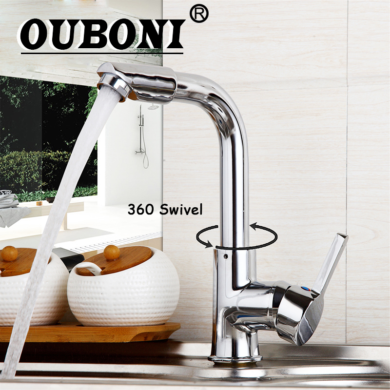 OUBONI Luxury 360 Swivel Deck Mounted Chrome Polished Bathroom Basin Stainless Steel Water Mixer Kitchen Sink Taps Faucet