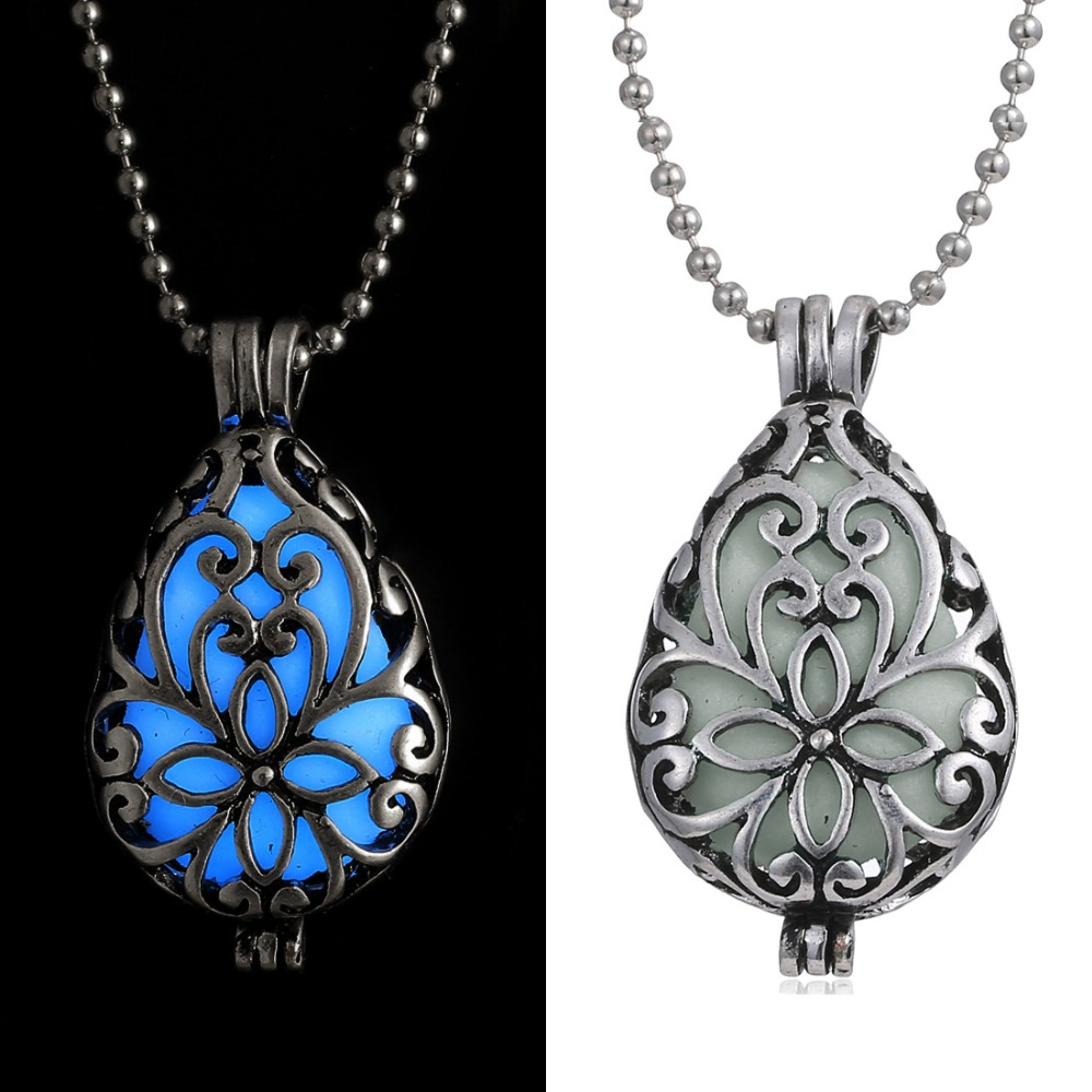 Magic Locket Cage Hollow Teardrop Fairy Glow in the Dark Oil Diffuser Luminous Pendants Necklace