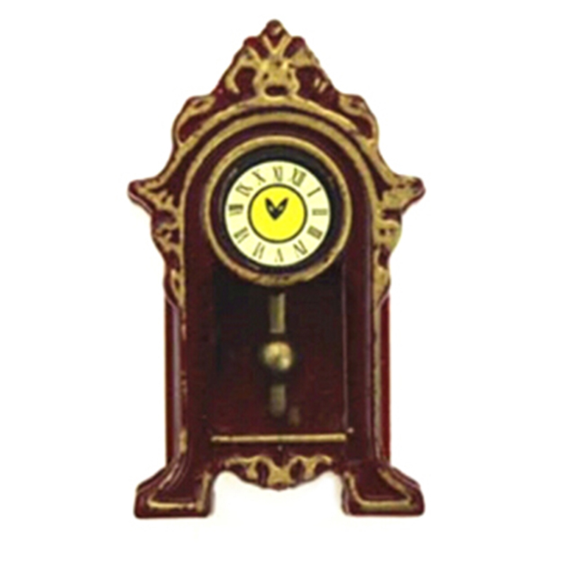 1:12 Mini Wooden Dollhouse Miniature Accessories Pendulum Clock Simulation Furniture Model Toys For Doll House Decoration
