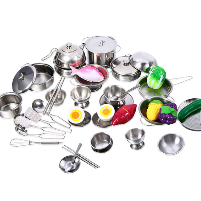 25pcs Stainless Steel Tableware Kids Baby Kitchen Toys Cooking