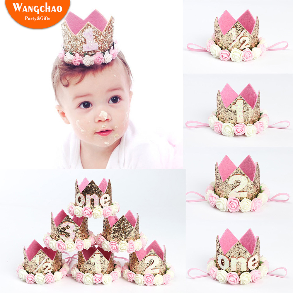 0 5 To 3 Years old Flower Crown Hairband Baby Shower Party Supplies First Birthday Girl Party Happy Birthday Baby Photo Props in Party DIY Decorations from Home Garden