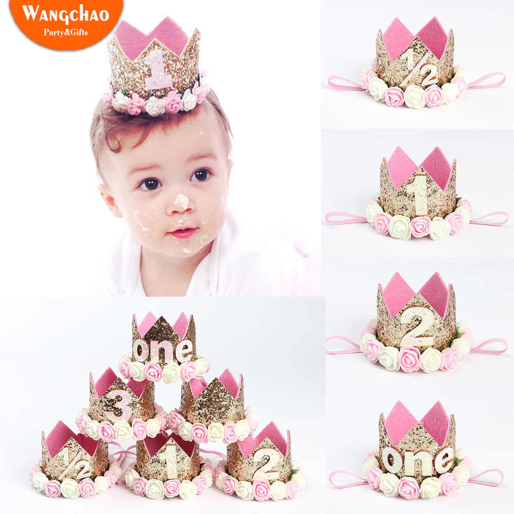 1096c11e8 0.5 To 3 Years-old Flower Crown Hairband Baby Shower Party Supplies First  Birthday Girl Party Happy Birthday Baby Photo Props