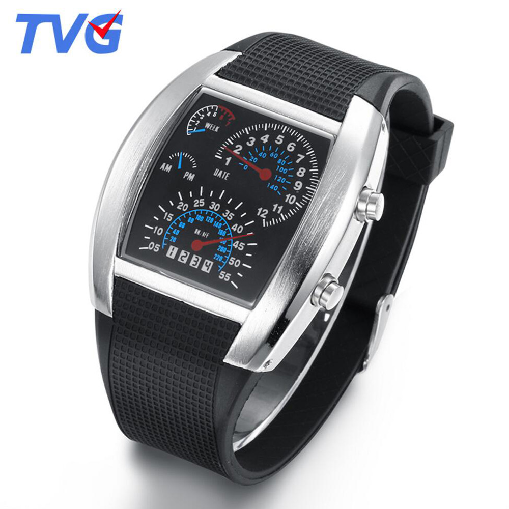 Men's Watches New Men Watches Fashion Binary Led Digital Watch Men Sports Watches Stainless Steel Mesh Band Electronic Watches Reloj Hombre Watches