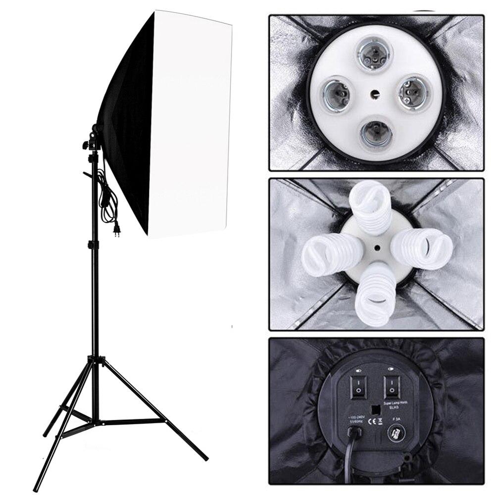 Photo Studio Kit Photography Lighting 4 Socket Lamp Holder 50 70CM Softbox 1 9m Light Stand