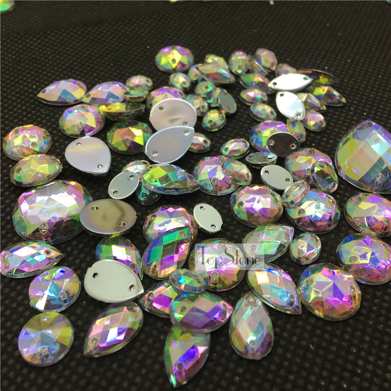100pcs Mix Sizes Shapes Sew On Rhinestone Flatback 2Holes Acrylic Gems  Strass Crystal and Stones For Dress-in Rhinestones from Home   Garden on ... 9a4c59d1db20