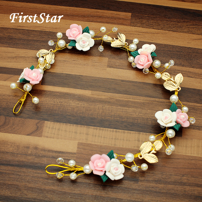 Beauty Pink Flower Beads Headpiece Gold Leaf Pearl Wedding Hair Crown Pron Bridal Head Jewelry Tiara Hairband