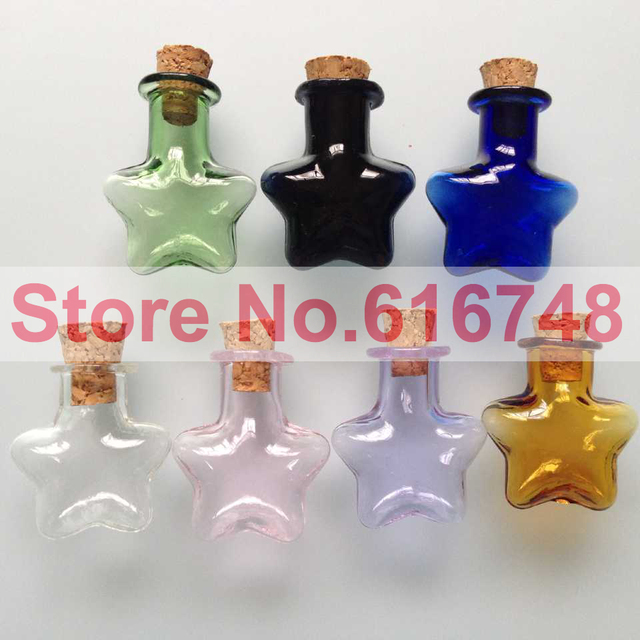 Decorative Bottles With Corks Endearing 20Pcs 2Ml Star Shaped Multi Colored Decorative Corked Glass Decorating Design