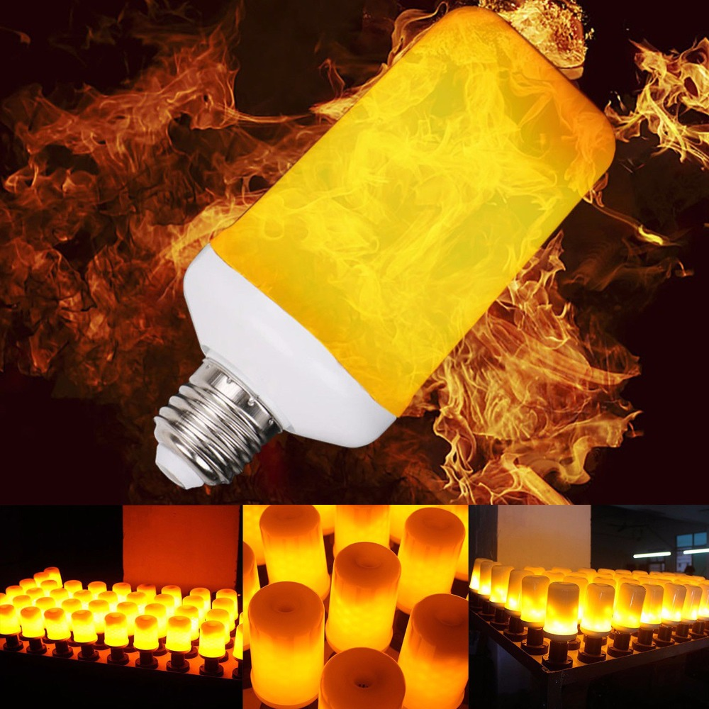 LED Flame Effect Simulated Nature Fire Light 7W 110V 220V Corn Bulbs E27 E26 Decoration Lamp Flickering Emulation flame Bulb