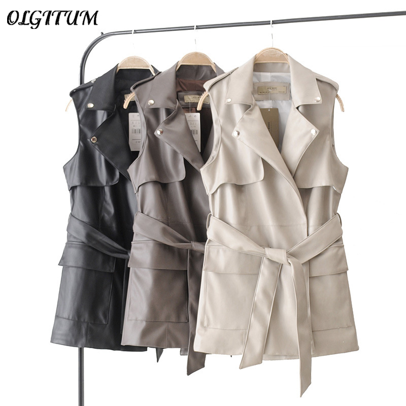 New Women Fashion Faux Leather Vests Lady Double Pocket Coat Sleeveless Vests Jacket Brand Casual Slim Long Waistcoat With Belt