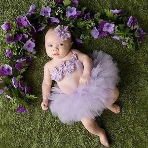 Топ продаж, комплект из тюлевой юбки-пачки и повязки на голову с цветами для новорожденных, реквизит для фотографии, подарок на день рождени...