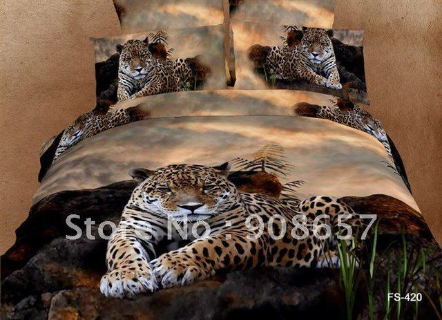 brown leopard animal printing Egyptian cotton bedding set duvet quilt covers sets 4pc for Queen/full comforter bed in a bag sets
