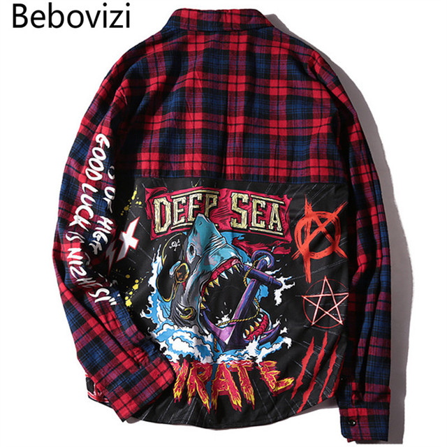Bebovizi Brand Harajuku Hip Hop Streetwear Red Blue Plaid Shirts