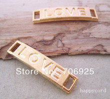 Free shipping Wholesale gold color Love letter charm connector 6mmx28mm  40pieces/lot цена