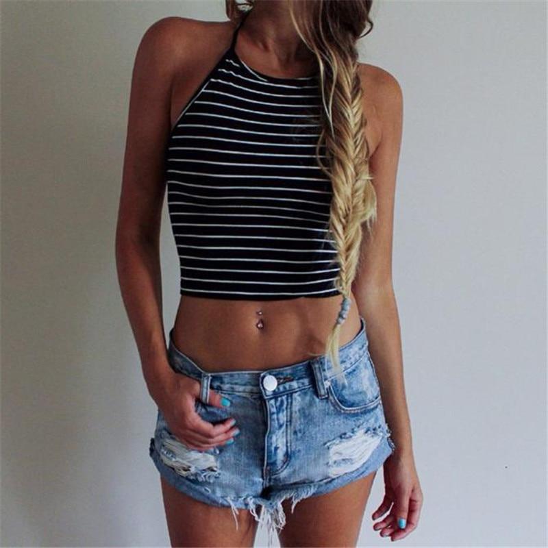 2018 Summer New Fashion Women Sexy Stripe Print Sleeveless Halterneck Tank Crop Tops Vest cropped feminino topsT-Shirt