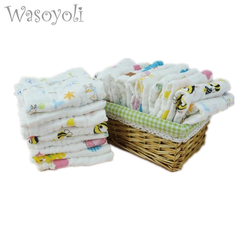 Wasoyoli 5 pieces / Lot Colorful Printed Burp Clothsf 3 Sizes 100% Muslin Cotton 6 Layers Handkerchie Soft Infant Towel elegant colorful stripe bohemia soft cotton towel