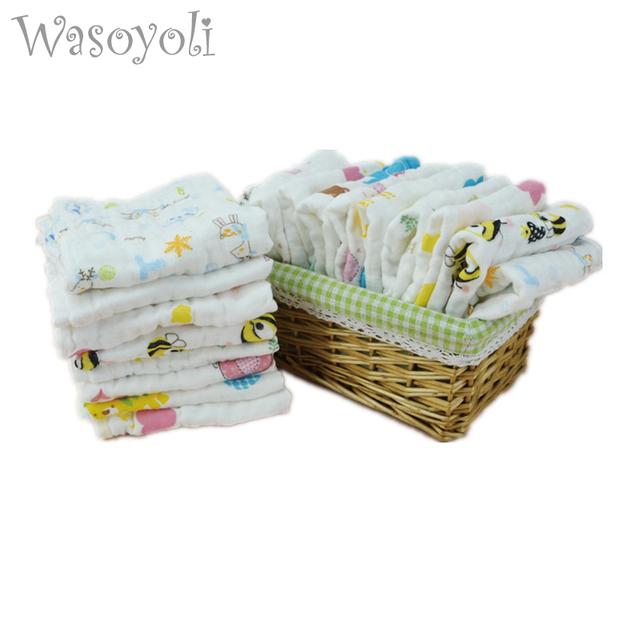 Wasoyoli 5 pieces / Lot Colorful Printed Burp Clothsf 3 Sizes 100% Muslin Cotton 6 Layers Handkerchie Soft Infant Towel