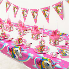Pink Unicorn Party Banner/Gift Bag /Balloons/ Plate Popcorn Cup Baby Kids 1st Birthday Kid Cake Decoration Party Favor Supplies(China)