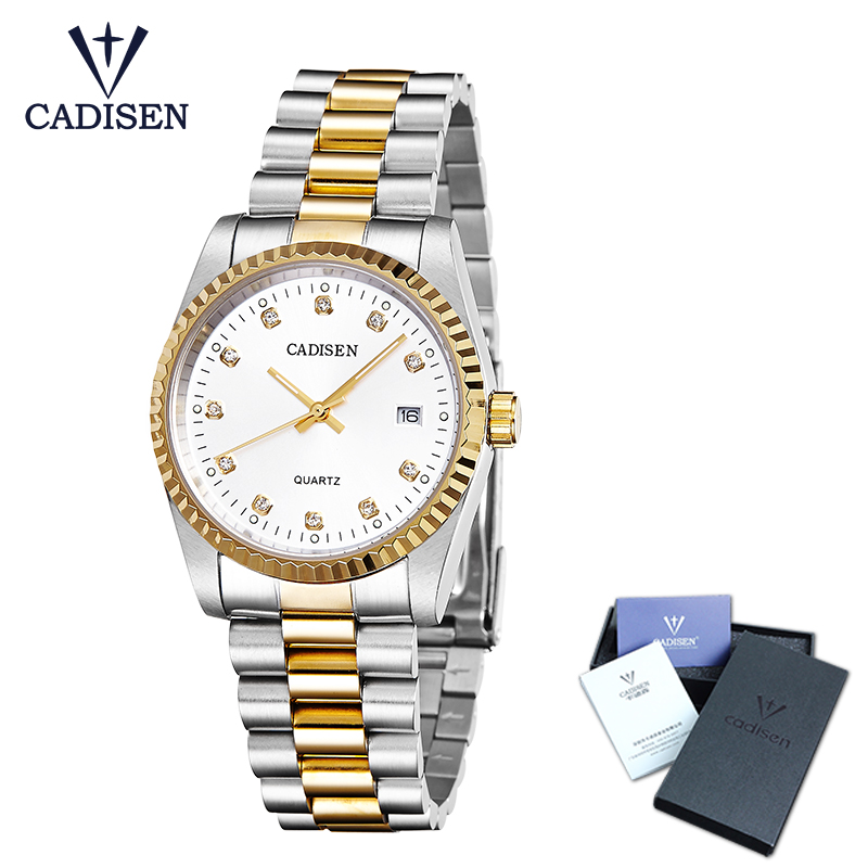 CADISEN Top Men Watch business fashion luxur quartz movement water resistant analogue calendar men watches stainless steel band все цены