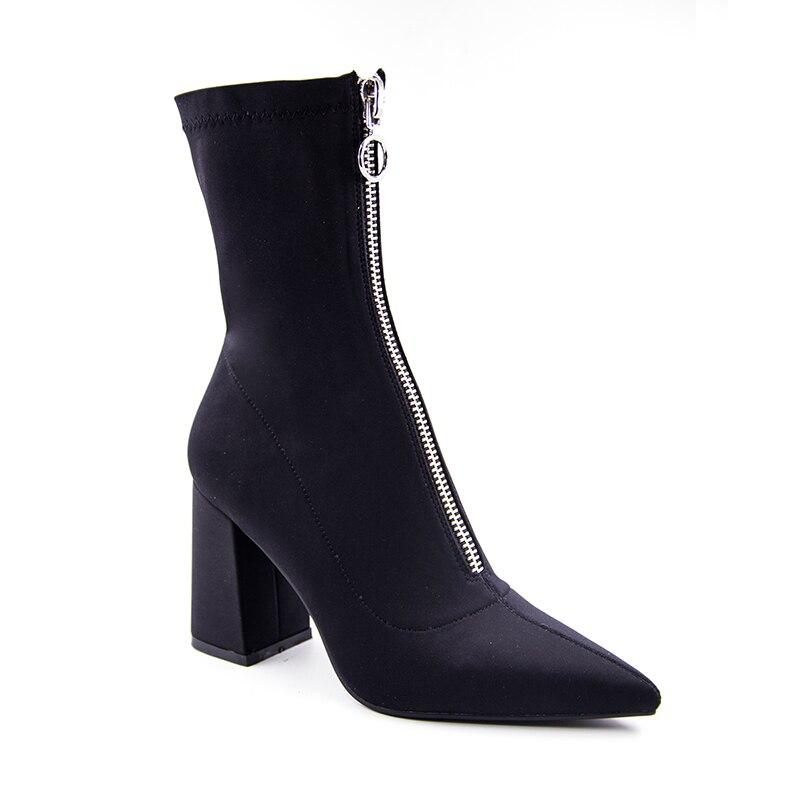Invierno 2017 Altos Elástica Cremallera Tacones Zapatos Botines Con Tela Botas Puntiagudas De Mujer Martin Frontal Sexy Moda CIFCr