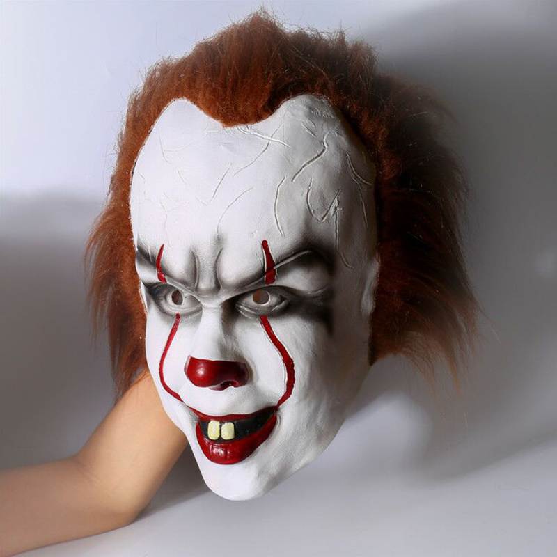 Halloween Pennywise Costume Rubber Stephen King IT 2017 Scary Clown Mask Men's Cosplay Prop Children Toy Trick or treat цена