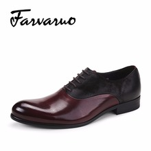 Farvarwo Men's Wedding Dress Oxfords Shoes Leisure Casual Genuine Leather Business Brogue Shoes Mens Moccasins Pointed Toe Flat