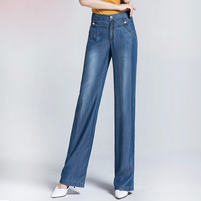Fashion Women Summer High Waist Denim Jeans Loose Thin Trouser Femme High Quality Woman Casual Wide