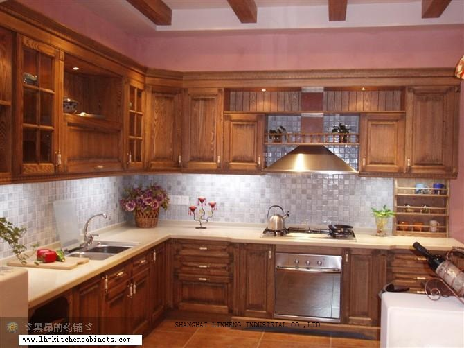 classic oak wood  kitchen cabinet(LH-SW027)