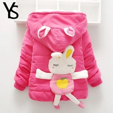 9-24M Baby Girls Winter Coat Baby Girl Thick Fleece Warm Coat Toddler Clothes Pink Rabbit Animal Cute Outwear Hooded Jacket