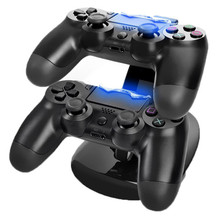 Best Great Charger Station Stand For Two PS4 Controller Top Selling Black PVC Material Dual USB Charging Dock For Playstaion 4