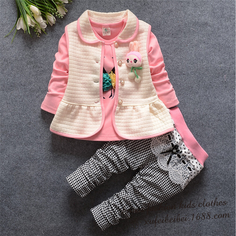 ФОТО spring children clothes baby girls clothing set cute vest  flower t-shirt+plaid leggings  suit set princess clothes