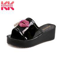 KemeKiss Size 33 43 Sexy Women Crystal High Heel Sandals Open Toe Metal Wedges Slippers Summer