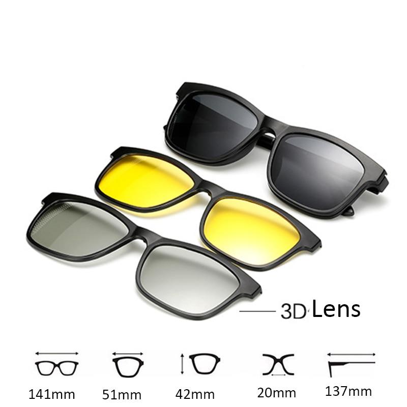 New 5 lenes Magnet Sunglasses Clip Mirrored Clip on 3D Sunglasses clip on glasses Men Polarized