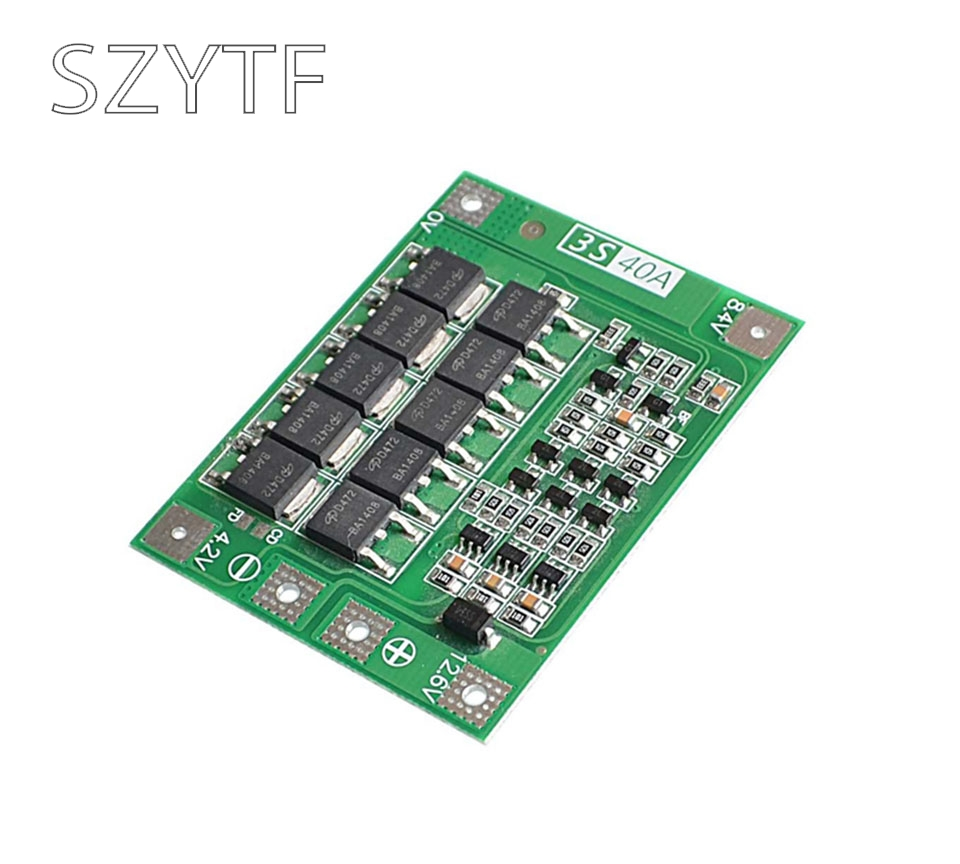 3S BMS 11.1V 12.6V 18650 lithium battery protection board with equalization startable electric drill 40A current