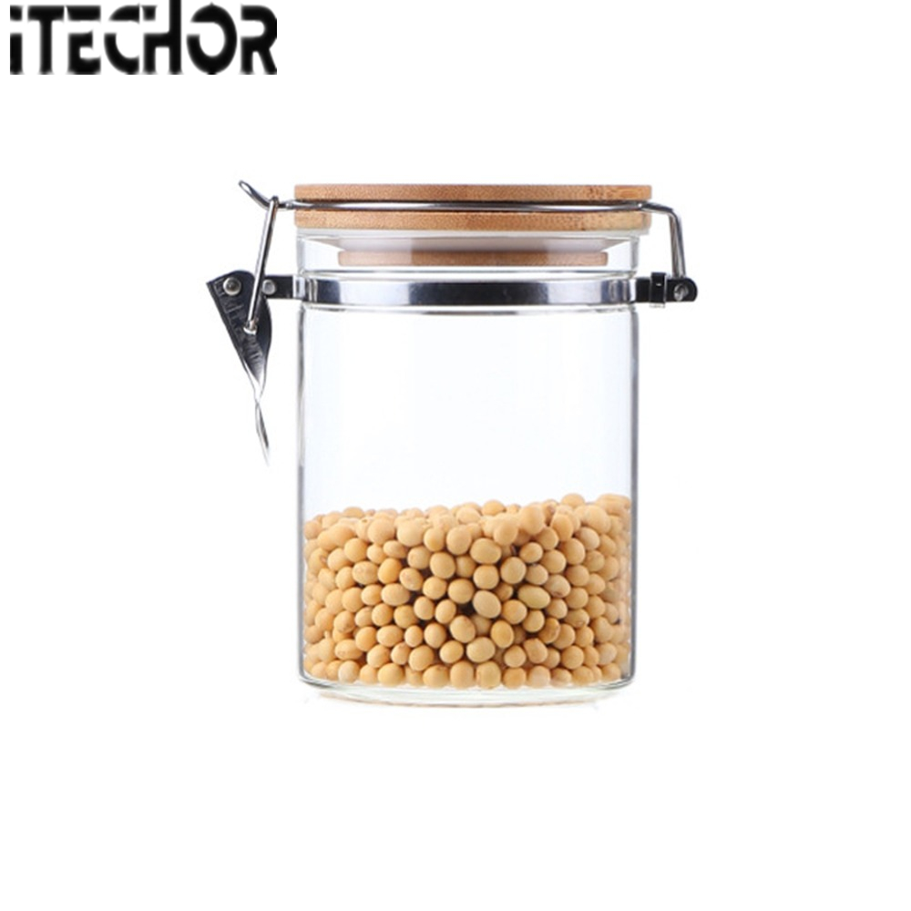 8ccca701d7a iTECHOR 850ML Glass Food Storage jars Container Airtight Easy Lock glass  jars with KKC Metal Buckles and Bamboo Lid