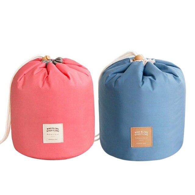 73bfe95a02 Fashion Barrel Shaped Travel Cosmetic Bag Make Up Bag Drawstring Elegant  Drum Wash Kit Bags Makeup Organizer Storage Beauty Bag