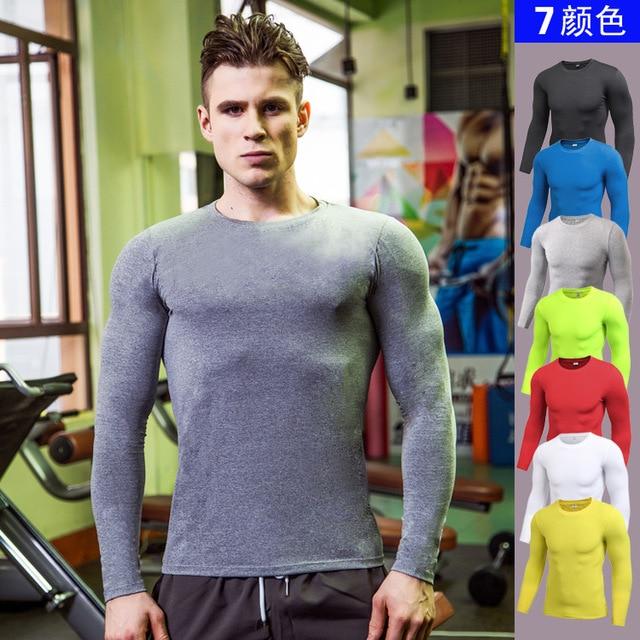 2275742b66 Camisa De Compressão Homens Fitness Apertado Manga Longa Camiseta Musculação  tshirt Ginásios Crossfit Exercício Roupas de