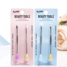 2Pcs/Set Sweet Candy Color Stainless Steel Ear Cleaner Spoon Earpick Earwax Remover Anti-Skid Health Care Safe Tool Random
