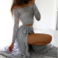 2 Piece Set Women Crop Top and Skirt Set 2016 Hot Autumn Winter Long Sleeve Lace Side Split Off Shoulder Club Party Clothing Set