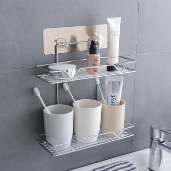 Corner Shelf Stainless Steel Bathroom Accessories Cosmetic Storage Bathroom Shelf Holder Silver Bathroom Products Полка