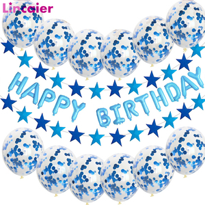 Happy Birthday Banner Decoration Confetti Balloons First Birthday Baby Boy Girl Party Kids Adult 1st One Year Garland Bunting