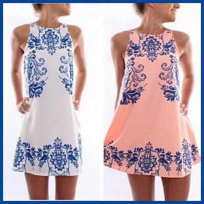 2015 verão estilo de venda quente nova moda praia elegante Retro cerâmica Vestido estampado Femme Vestido em torno do pescoço mulheres Vestido de Chiffon
